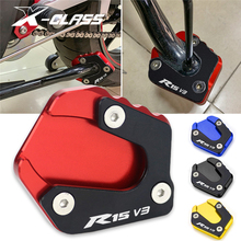 R15 Motorcycle Side Stand Enlarger Kickstand Pad Blue Red Black Gold CNC Aluminum for YAMAHA YZF R15 R15 V3 2017 2018 2019 2020