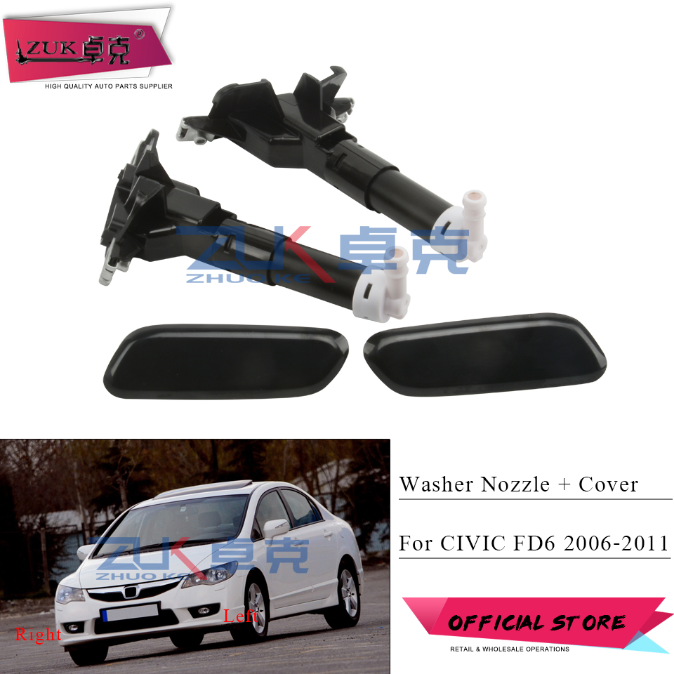 ZUK For HONDA For CIVIC FD6 2006 2007 2008 2009 2010 2011 Headlight Headlamp Water Spray Nozzle Jet With Washer Cover Cap Case