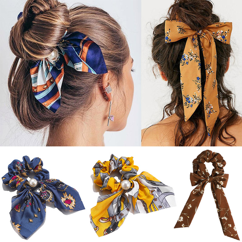 Bow Streamers Hair Ring Fashion Ribbon Girl Hair Bands Scrunchies Horsetail Tie Solid Headwear Chiffon Hairbands  Accessories