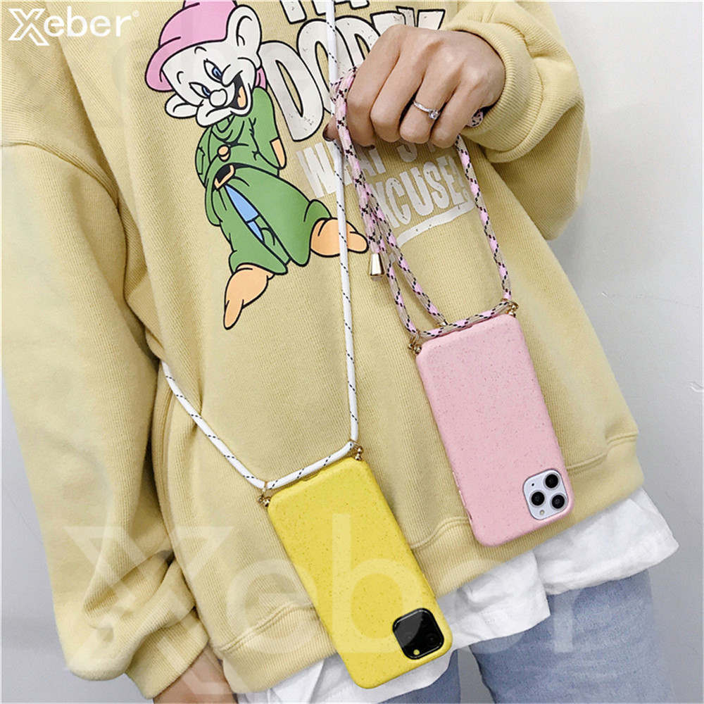 Eco-friendly Silicone Case For iPhone 11 Pro Max X XS Max XR 8 7 6 6S Plus Lanyards Crossbody Necklace Cord with Rope Back Cover(China)