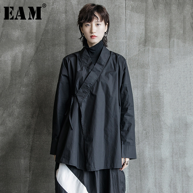[EAM] Women Black Bandage Blouse New Stand Neck Long Sleeve Loose Fit Shirt Fashion Tide All-match Spring Autumn 2019 1B210