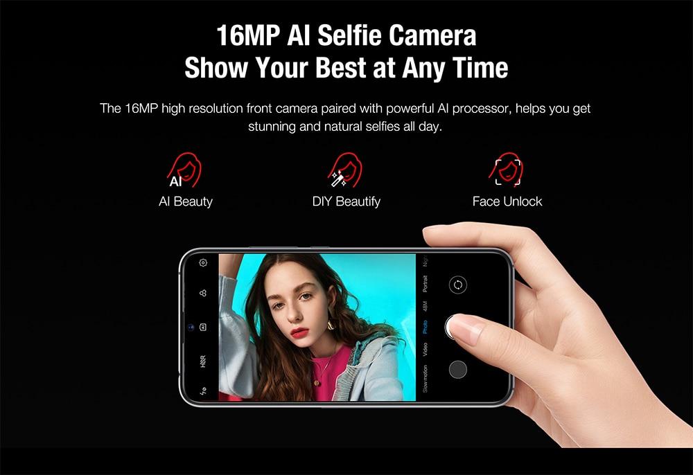 "Hde73447b9ef44d538b7eaf081c8cdb422 Global Version UMIDIGI X In-screen Fingerprint 6.35"" AMOLED 48MP Triple Rear Camera 128GB NFC Helio P60 4150mAh Cellphone"
