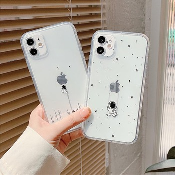 moskado Astronaut Clear Phone Cover For iPhone 11 Pro Max X XR XS Max 7 8 7Plus Soft Silicone TPU Back Case Shockproof Cover image