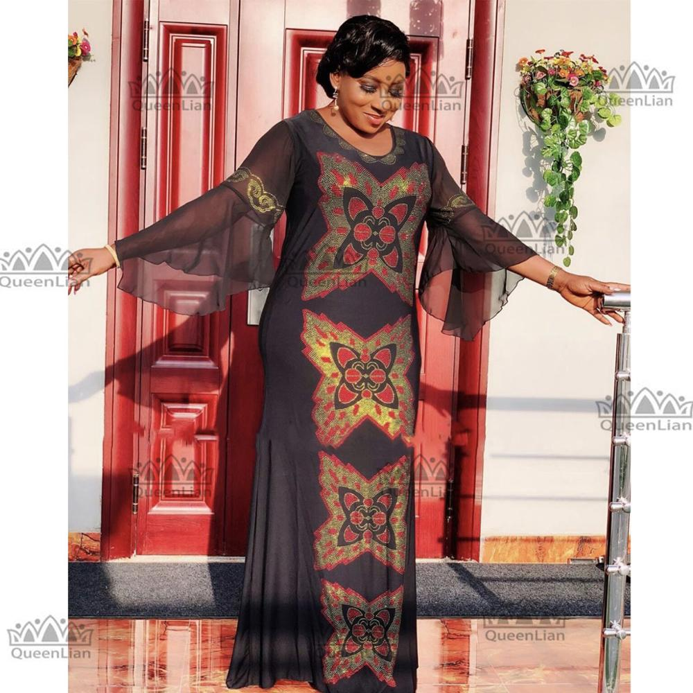 African Clothing  Diamond Long Dress With Chiffon Sleeve Dashiki Dress For Lady ZX#