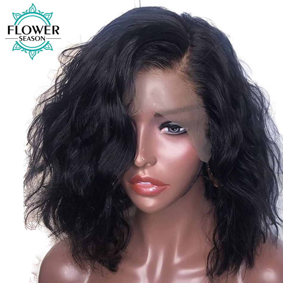 13x6 Inch Natural Wave Short Bob Brazilian Remy Lace Front Human Hair Wigs For Women Pre Plucked Bleached Knots FlowerSeason