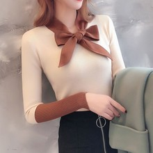 Sweet Sweater Women Autumn New Bow Decoration Casual V Neck Long Sleeve Stitching Design Knitted Pullover