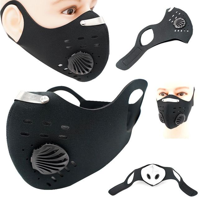 Fashion Black Face Masks Air Filter Anti Pollution Dust PM2.5 Mask Bike Cycling Mouth-muffle Bacteria Proof Flu Face Masks