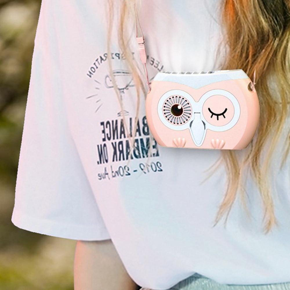 Owl Hanging Portable Neck Fan Outdoor Lazy Usb Small Fan Creative Desktop Bracket Fan For Office And Outdoor