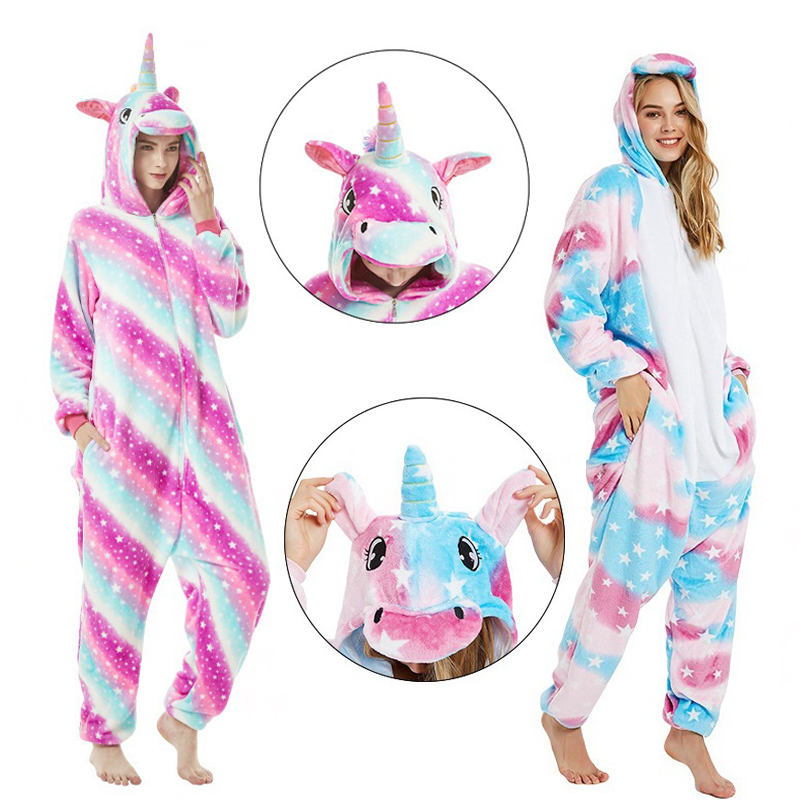 Kigurumi Winter Adult Nightie Stitch Unicorn Pyjamas Women Unicorn Pajamas Onesie Panda Animal Pijama Kengurumi Cosplay Overalls