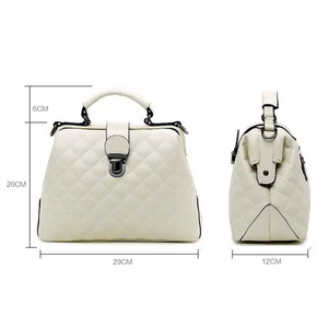 Image 5 - Fashion Plaid Rivets Design Pu Leather Crossbody Bags For Women Solid Color Shoulder Handbags Female Doctor Tote