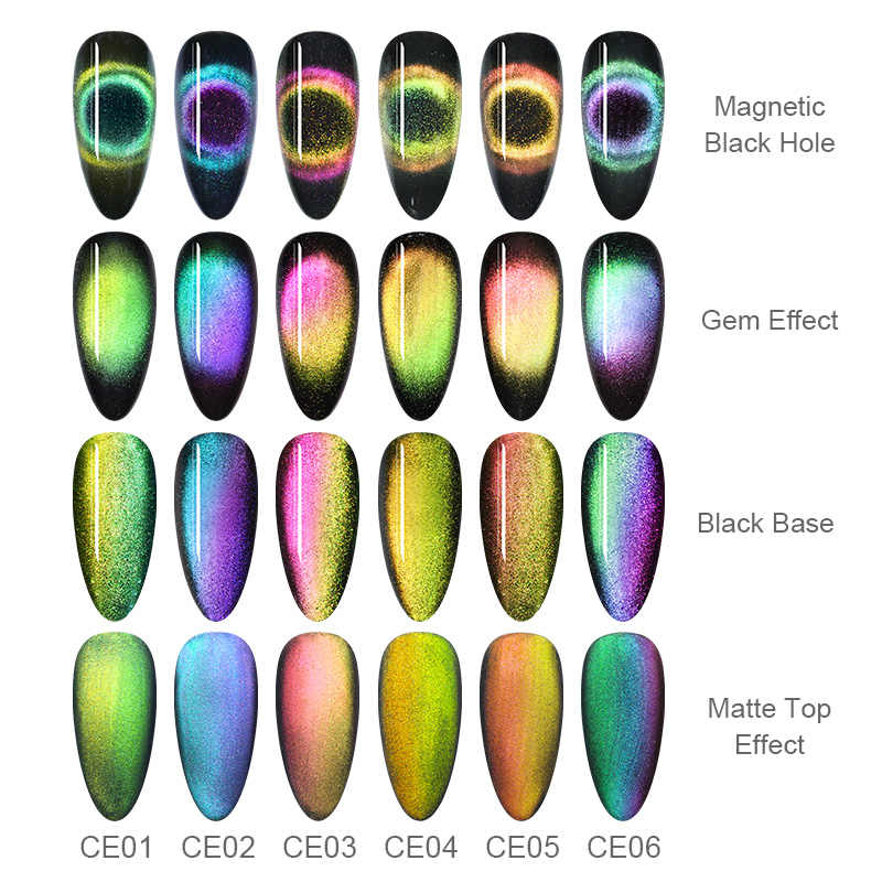 Lahir Cukup 9D Chameleon Cat Eye Nail Gel Magnetic Rendam Off UV Gel Cat Kuku Romantis Bersinar Gel Lak 5ml Hitam Dasar Perlu