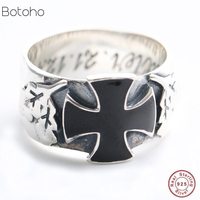 100% S925 Sterling argent hommes anneau Punk Style croix jésus avec émail noir Rock anneau pour hommes femmes amoureux de mode bijoux cadeau