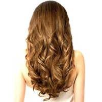 SAMBRAID Natürliche Wellenförmige Haar Clip In Haar Extensions 24 zoll Schwarz Hitze Beständig Faser 4 Clips In Einem Stück Synthetische haar