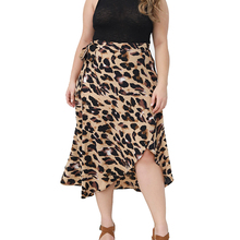 Plus Size Skirt 6XL Women Leopard Print Maxi Ladies High Waisted Summer Long Skirts Fashion sexy skirts womens D30