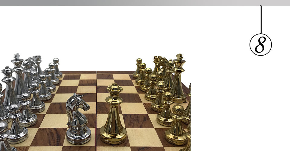 Easytoday Metal Glossy Golden And Silver Chess Pieces Solid Wooden Folding Chess Board High Grade Professional Chess Games Set (8)