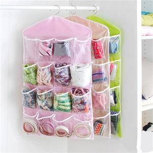 16Pocket Foldable Hanging Bag 4 Layer Folding Shelf Bag Purse Handbag Organizer Door Sundry Pocket Hanger Storage Closet Hanger