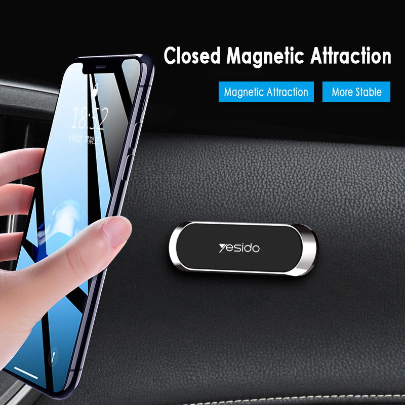 Yesido C55 Mini Strip Shape Magnetic Car Phone Holder Stand  GPS Car Mount Dashboard For IPhone Samsung Xiaomi Wall Metal Magnet