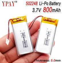 Bateria recarregável do polímero do li-po das pilhas do lipo do lítio de 502248 3.7v 800 mah li-ion para o tacógrafo de gps pda do orador de bluetooth
