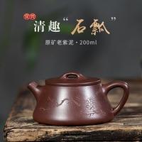 Konkurrenzfähiger Produkte Yixing Dark rot Emaillierte Keramik Teekanne Raw Erz Alt Lila Tinte Für Prägung Von Dichtungen Reine Voll manuelle-in Teekannen aus Heim und Garten bei