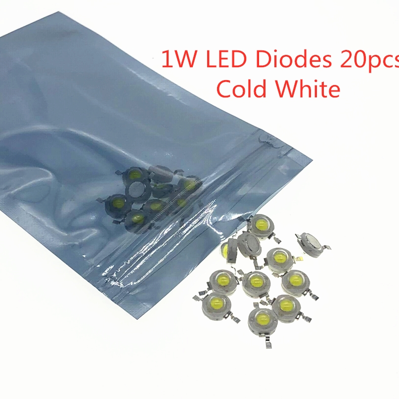 20pcs LED Diodes Cold White 1W White Light Emitting Diode 1 Watt Chips LED Diodo Beads 1-Watt LED Diodi Cool White