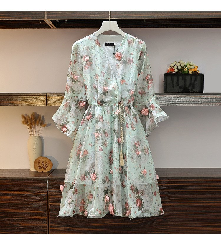 Women V-Neck Floral Appliques Chiffon Dress 2019 Summer Flare Sleeve Belt Flower Print Dress Empire Plus Size Mini Dresses 60