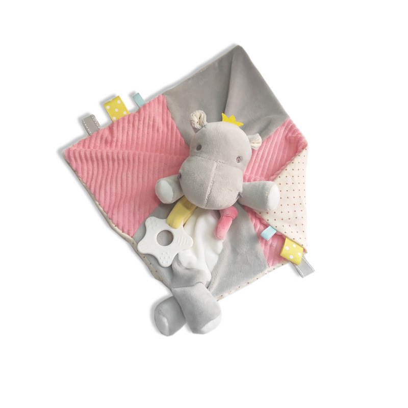Music Baby Stuffed Animal Soothe Blanket Minky Soft Hippo Security Blanket  Pacify Towel Newborn Teether Appease Blanket