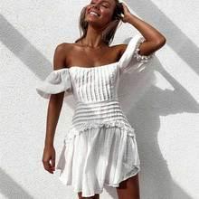BOHO INSPIRED white ruffle women dress Tie up back ladies party dress puff sleeve mini summer dress Pleated chic dress female
