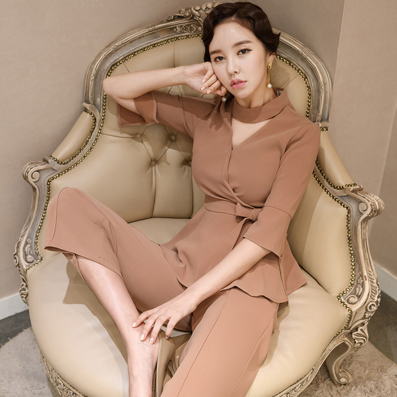 Set 2019 Summer New Products Korean-style Slim Fit Stand Collar Tops + Fashion WOMEN'S Dress Loose Pants Two-Piece Set