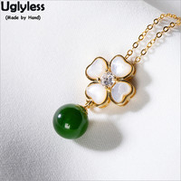 Uglyless Opal Clover Jewelry Sets for Women Nature Jade Balls Pendants +Chains Real 925 Silver Floral Necklaces + Earrings P1013