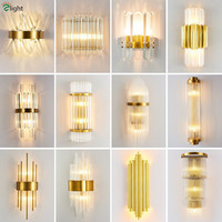 Modern Gold Led Wall Scones Lustre Indoor Lighting Glass / Crystal Led Wall Lamp Led Luminarias Lighting Fixtures