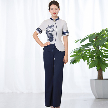 2020 beauty salon spa uniform health club workwear massage foot bath sets chinese style hotel restaurant waitress female suit