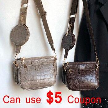 Bolso de hombro Vintage de cocodrilo para mujer, bolso bandolera con correa ancha de diseñador de lujo, bolso bandolera con cadena, bolso de piel sintética para mujer, 3 bolsas, cartera