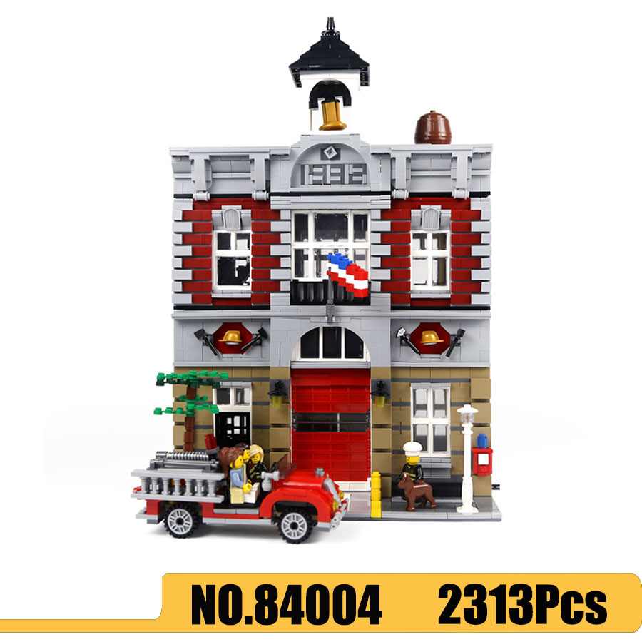 City Street View Series 15004 84004 Nostalgic Fire Station Model Building Blocks Compatible <font><b>10197</b></font> 2313Pcs Kids Toys Gift image