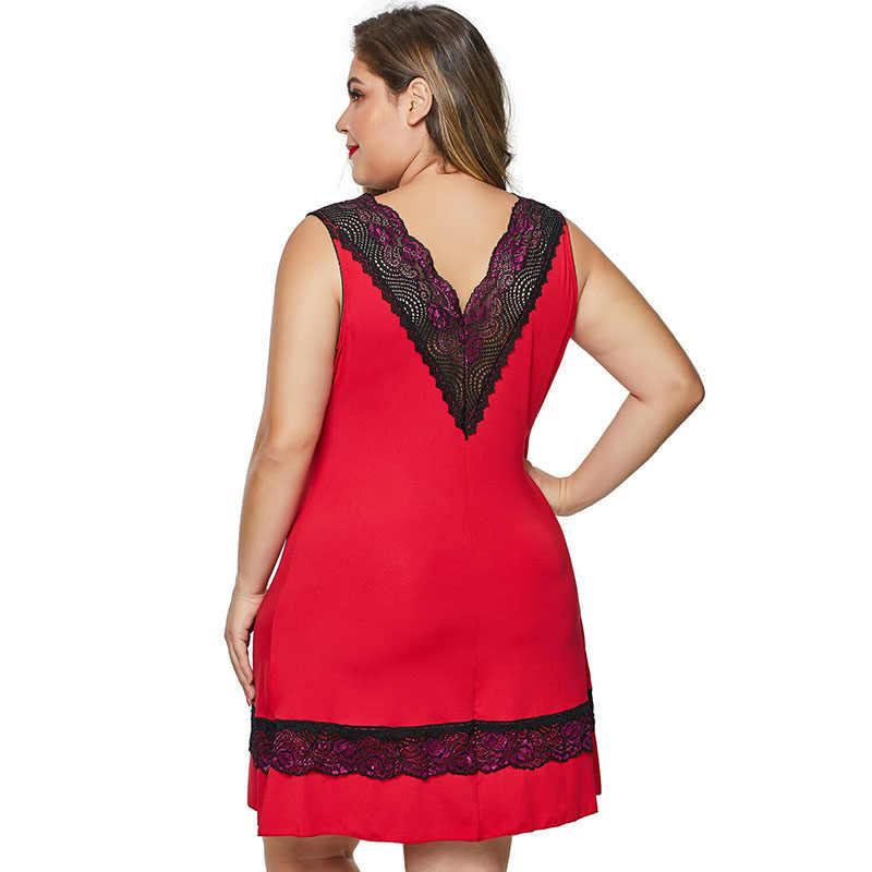 SEBOWEL אישה של שחור/אדום בתוספת גודל תחרה V העמוק Babydoll Bowknot הלבשה תחתונה שמלה + חוטיני 2 חתיכה נקבה הלבשת תחתונית