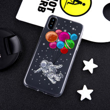 Funny Cartoon astronauts Phone Case for iPhone XR 8 7 6 6s Plus XS MAX X Soft TPU Silicone For 5 5S SE