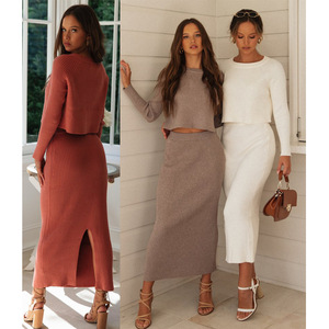 Knitted 2 Pieces Set Women Pullovers Sweater Crop Tops & Knitted Skirts Bodycon Office Lady Skirts 2PCS Suits 2020 Winter Cloth