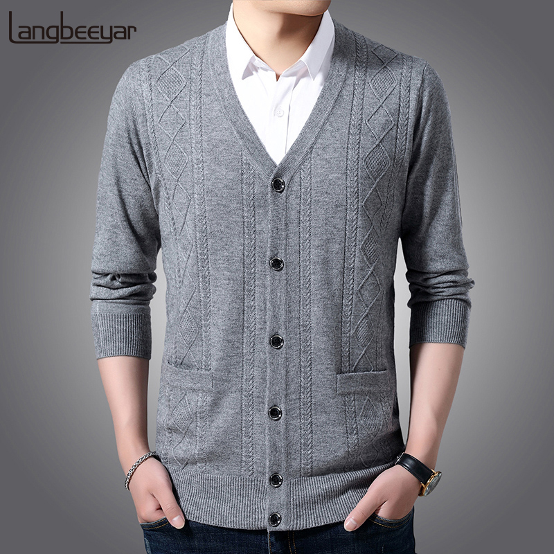6% Wool Fashion Brand Sweater Men Cardigan Jumpers Knitwear Jacquard Winter V Neck Slim Fit Korean Style Casual Men Clothes