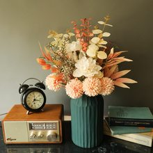Ins novo design de buquê de flores artificiais dandelion peônia hbrid seda falso planta verde casa decoração de casamento natal