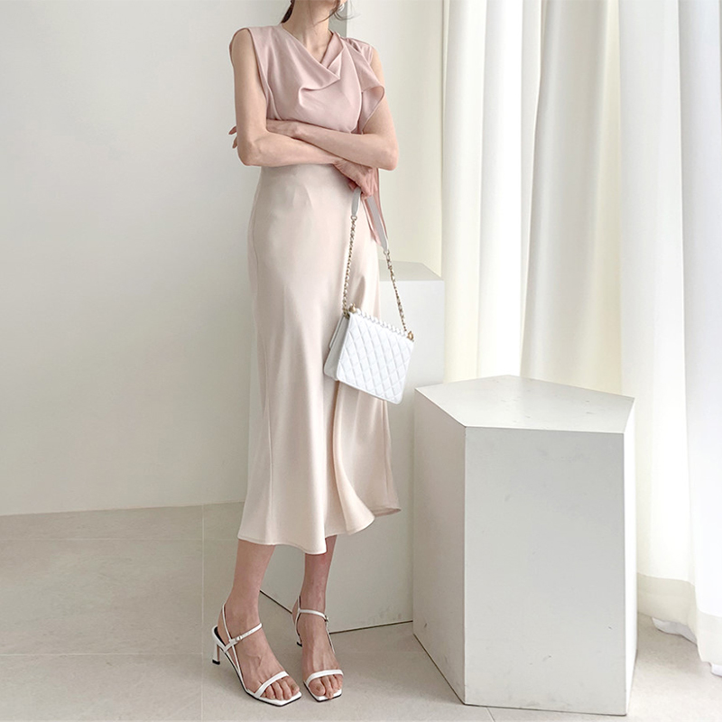 Elegant High Waist Satin Skirt Women Casual A-Line Midi Silk Slim Summer Autumn skirts lady Dropshipping
