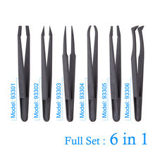Carbon Fiber Anti-static Electronic Tweezers Kit Plastic Forceps  Repair Industrial Hand Disassemble Tool Set Operated Tools