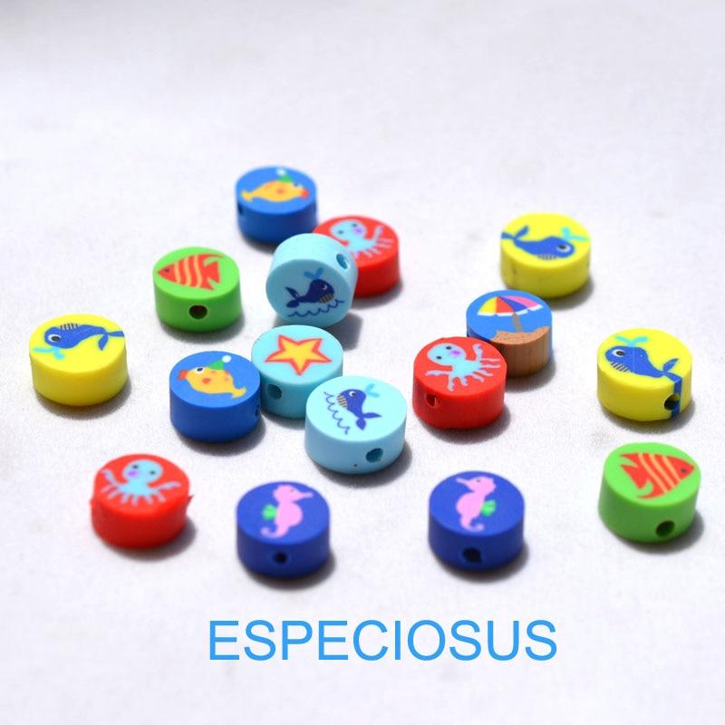 DIY Schmuck Zubehör polymer clay perlen Cartoon Ozean Stil Scheiben Mix Design Spacer mix farbe Armband Abteilung 50 stücke
