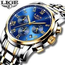 2018 novos relógios masculinos marca de luxo lige chronograph masculino relógios esportivos à prova dwaterproof água aço completo relógio de quartzo masculino