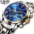 2018 nuevos relojes de marca de lujo para hombres, cronógrafo de LIGE, relojes deportivos para hombres, reloj de cuarzo de acero resistente al agua, reloj Masculino