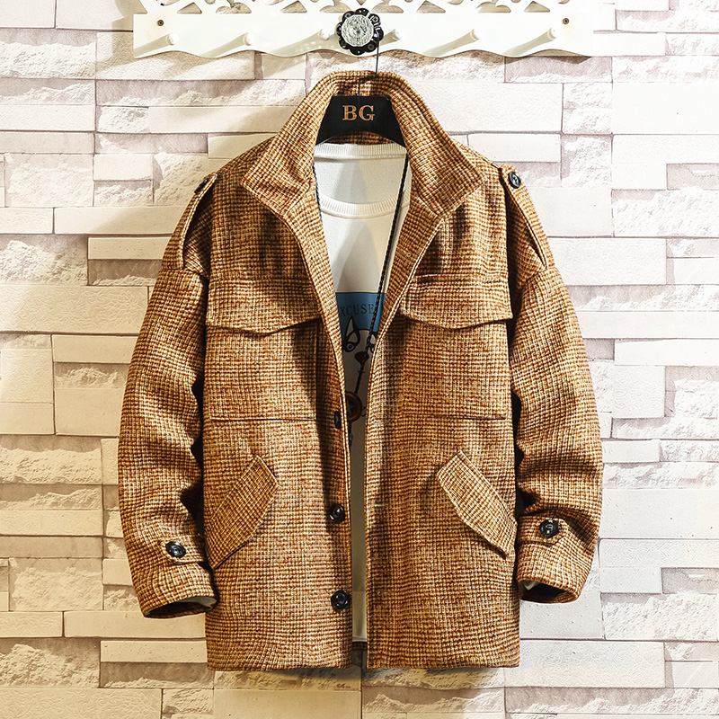2020 Casual Classic Spring Autumn Jacket Fashion Brand Clothes Fleece Thick Warm Woolen Overcoat Blend Men's Coat