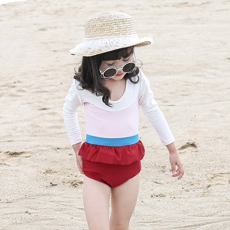 Long Sleeve GIRL'S One-piece Swimming Suit High-waisted Triangular Short Skirt CHILDREN'S Swimwear Contrast Color Hot Springs Sw
