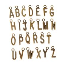 26 шт 15*10 мм ювелирные изделия делая а-Z письмо подвески металлические подвески для DIY ожерелья и браслеты 3 цвета смешивания золото бронза серебро