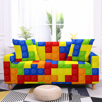 Colorful Block Pattern Elastic Slipcovers Sofa Universal Sofa Cover Stretch Sectional Couch Cover Sofa Cover For Living Room 9