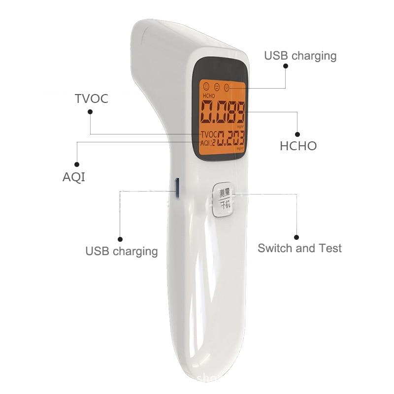 3-In-1 Digital Air Quality Detector Portable Formaldehyde Detector Aqi Hcho Tvoc Monitor Smart Calibration Accurate Gas Analyzer