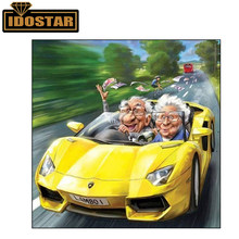 Diamond Embroidery 5d Painting Old Couple Driving Car Happy Weekend Crystal Mosaic Pictures Full Square Round Diamond Painting(China)