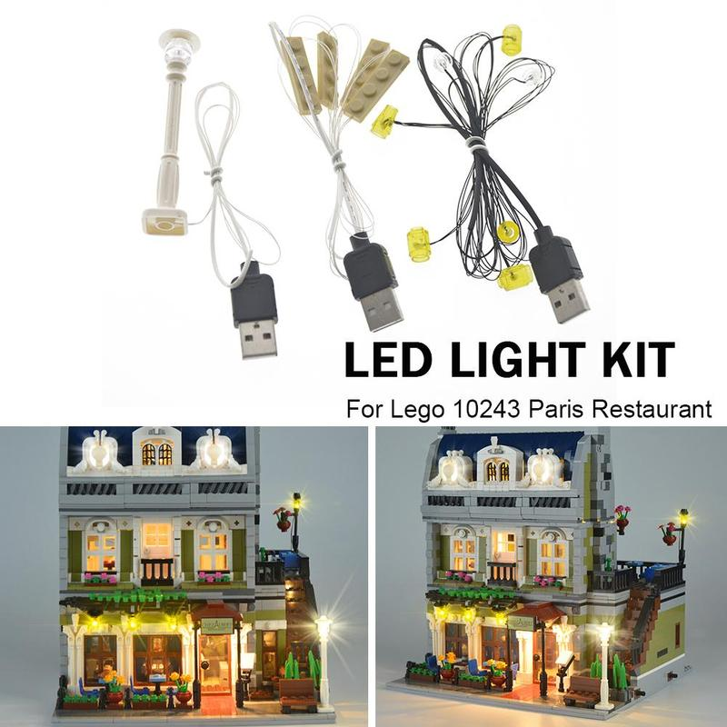 Para LEGO 10243 Restaurant House Creator Expert City Street set LED Light Up Kit
